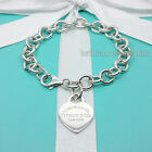 Return to Tiffany  Co Heart Tag Bracelet Charm Chain 925 Silver Authentic 825