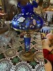 RARE FENTON LAMP COBALT BLUE GLASS HAND PAINTED FLOWERSsigned S Smith