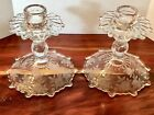 Vintage Etched Glass Candlesticks Set Of 2 Mint Condition