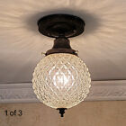 812b Vintage antique Glass Shade Ceiling Light Fixture hall entry porch 1 of 2