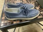 Timberland Mens Newport Bay Boat Shoes Blue Canvas Lace Up Size 75 With Box
