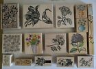 Rubber Stamps VTG Lot OF 17 Magenta Hero Arts wood mounted Floral Use  NEW