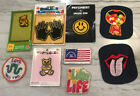 Patches Lot of 9 Embroidered Iron On Appliques Vintage 1970s Flag Rolling Stones