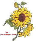 10x Iron On Patch Sunflower flower Yellow Embroidered Sewing Applique Jacket Dec
