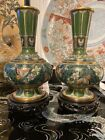 Chinese Large Cloisonn Vases Pair 1025 Tall