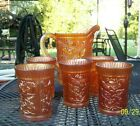 1960s Marigold Carnival Glass Water Pitcher 5 Tumbler Set Lustre RoseMINT
