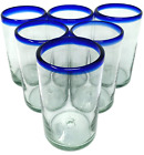 Hand Blown Mexican Drinking Glasses  Set of 6 Glasses with Cobalt Blue Rims 14