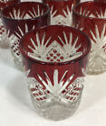Set of 6 Vintage Ruby Red Stained Pressed Glass Tumblers