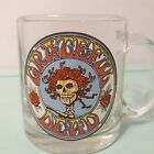 VINTAGE GRATEFUL DEAD Mug Clear Glass Red Roses on Skeleton Head