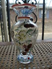 Hand Painted Glass Vase Flowers Butterfly