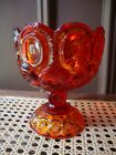 Antique Vtg Amberina Moon and Stars Compote Cadmium Glass Orange UV Glow