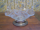 CAMBRIDGE ROSE POINT 2 HANDLE CLEAR GLASS BASKET W WALLACE STERLING SILVER BASE