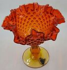 FENTON ART GLASS Red Orange Footed Compote Comport Thumbprint Amberina