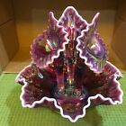 RARE FENTON PLUM CRANBERRY OPALESCENT THUMBPRINT EPERGNE LARGE 3 HORNS