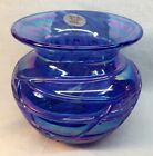 Gibson Art Glass Spittoon Cobalt Slag Carnival With Applied Glass Rings