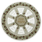 Painted Glass Rosh Hashanah Seder Plate with Red Pomegranate Decorative Design