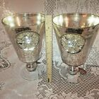 Pair of Gorgeous Handcrafted Mercury Glass Silver Embellished Vases