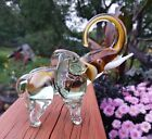 Heavy Glass Elephant Figurine Statue Paperweight Amber and Clear Murano Style