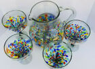 Hand Blown Glass Pitcher and Margarita Set of 4 Half Confetti 1999 shipping