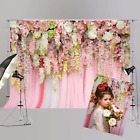 Bridal Shower 8X6Ft Wedding Floral Wall Backdrop Pink And White Rose Flowers Cur
