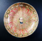 Rare Late 19thc Victorian Folk Art Tom Moore Decoupage Cigar Band Glass Bowl