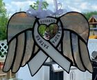 Memorial Stained Glass Suncatcher Memorial Ribbon with Angel Wings