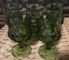 5 Indiana Glass Avocado Green Kings Crown Thumbprint Goblets Vintage 5 3 4