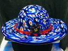 Vintage Collectible Murano Millefiori Art Glass Blue Hat Red Flower