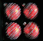 4x Christmas Blown Glass Red Ornaments Silver Glitter Sequin Ornate 35