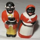 Vintage Black Americana Salt And Pepper Shakers Made In USA Plastic