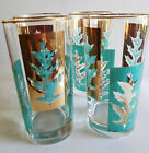 VINTAGE LIBBEY GLASS DRINKING MID CENTURY TURQUOISE GOLD LEAF 4