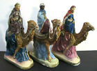 3 Vtg Wisemen Kings Riding Camels Lge Chalkware Christmas Nativity Figures 75
