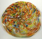 HAND BLOWN GLASS ART WALL PLATTER BOWL PLATE DIRWOOD GOLD SPARKLES n3497