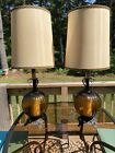 HUGE 39 Vtg Mid Century Modern MCM Ribbed Amber Glass Table Lamps Orig Shades