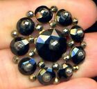Deluxe Antique Black Glass Button with Cut SteelsRARE TRUE RIVETED