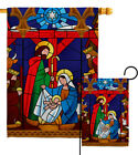 Stained Glass Nativity Garden Flag Winter Decorative Gift Yard House Banner