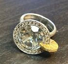 Silver Martini Glass Natrual Champagne Diamond and Gold Ring Size 6