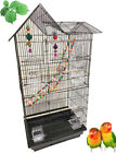 Large Double Roof Top Bird Flight Cage W Toys Canary Aviary Cockatiel LoveBird