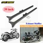 39 in Fishtail Slip on Mufflers Exhaust pipes For Harley Touring Road King 95 16