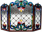Stained Glass Fireplace Screen 28 Tall by 44 Wide Tiffany Style ONE THIS PRICE