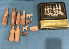 Vintage Set 12 Hand Made Carved Olive Wood Nativity Scene Figures Jerusalem