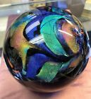 Signed Karg 2012 Black and Dichroic Glass Paperweight STUNNING 45