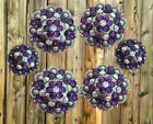 6 pc berry crystal bling saddle concho set PURPLE AND AB CLEAR CRYSTAL conchos