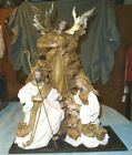 Large Paper Mache Nativity Mary Joseph Baby Jesus Angel Christmas Religious