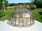 Vintage Two Tone Beveled Etched Glass Panel Chandelier Hanging Lamp Fixture