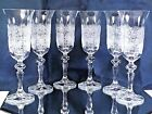 Bohemian Crystal Glass Set of 6 Champagne Flute Wine Glasses 5 oz Hand Cut