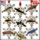Pewter Whale Snowflake Christmas Tree Ornaments 51 Options Made in the USA