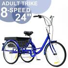 24 Inch Trike 8 Speed Adult Tricycle 3 Wheel Blue Bike w Basket for Shopping