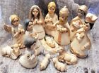 14pc Vintage MEXICO Hand Crafted Painted Clay Christmas Nativity Set 6 3 4
