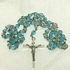 Vintage Rosary with Ice Blue Glass capped crowned beads 24 Sterling